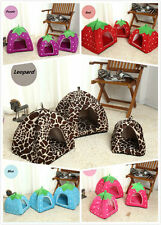 Dog Cat Strawberry Bed House Kennel Doggy Puppy Warm Cushion Basket Soft