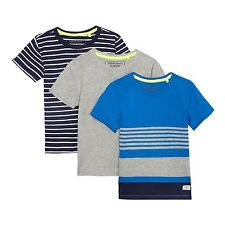 Bluezoo Kids Pack Of Three Boys' Assorted Plain And Striped T-Shirts