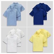 Unisex Girls & Boys 2 Pack 100% Cotton School Polo Shirts (3-16yrs) Uniform Kids