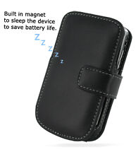 PDair Black Leather Book-Style Case for BlackBerry Tour 9630 / Bold 9650