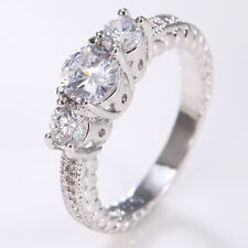 Fashion Jewelry 925 Silver 3Stones Clear Topaz Wedding Engagement Ring Size 6-10