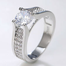 Fashion Jewelry 925 Silver Clear Topaz Wedding Engagement Ring Size 6-10
