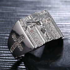 Art Cross Crucifix JESUS Christ Christian 925 Silver Solid Mens Ring Size 6-10