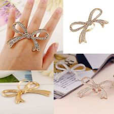 Jewelry Finger Ring Big Bowknot Design Ring Decorative Rings Rhinestone Rings