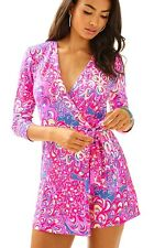 New Lilly Pulitzer KARLIE WRAP ROMPER IRIS BLUE LILLY'S LAGOON POP UP S M