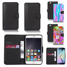black pu leather wallet case cover for many mobiles design ref q496