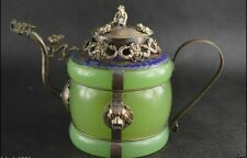 Chinese handwork old green jade bracelet inlay tibet-silver dragon teapot monkey