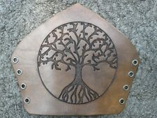 Hand-made carved leather bracers with tree of life carving, antique brown finish