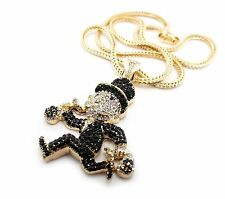"Iced Out Gold, Silver PT MONOPOLY Pendant, 4mm 36"" Franco Chain Hip Hop Necklace"
