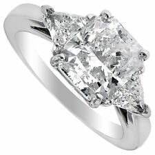 2.10 ct Radiant &Trillion Natural Diamonds Three stone Engagement Ring 14k Gold