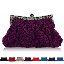 New Diamante Women Checked Satin Clutch Bag Bridal Ladies Evening Party Handbags