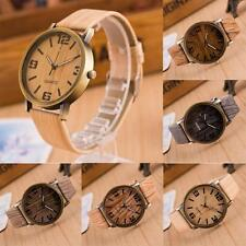Jewelry Casual Leather Strap Wristwatch Wooden Quartz Analog