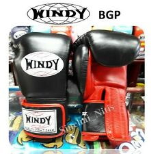NEW WINDY BOXING GLOVES VELCRO BGP BLACK-RED MUAY THAI FIGHTING 8,10,12,14,16 oz