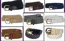 "Men's leather Woven Elastic Stretch Golf Belt Wholesale 1-1/4"" Gold Buckle 7100"