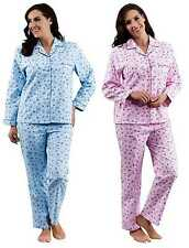 Womens Floral Flannel PJ Set Peochi Womens 100% Brushed Cotton Flower Pyjamas
