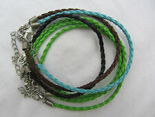 Silver Clasp Braided Leather Charm Beads European BRACELET Several Colours