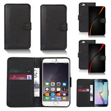black pu leather wallet case cover for many mobiles design ref q798