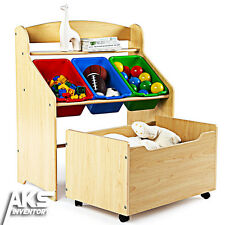 NEW Kids Toy Organizer Bin Childrens Storage Box Bedroom Toys Bins Fun Play Wood