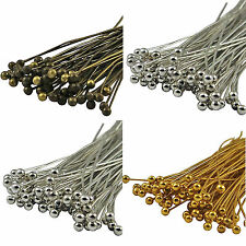 100PCS Silver /Gold / Bronze Jewellery findings Plated Metal Head Pins -Ball pin