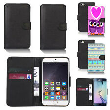 black pu leather wallet case cover for many mobiles design ref q364