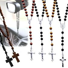 ROSARY BEAD BALL NECKLACE CROSS PENDANT JESUS CRUCIFIX WOOD TIMBER SURFER BLACK