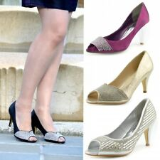 Ladies Heels Classic Party Looks Open Toe Wedding Court Diamante Womens Shoes