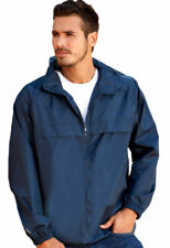 UltraClub Men's Quarter Zip Pack Away Pouch Pocket Pullover Hooded Jacket. 8925