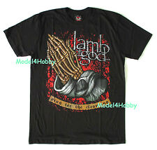 LAMB OF GOD T-Shirt Black Size S M L XL HEAVY METAL SKELETON PRAYING HAND TATTOO