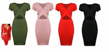 New women ladies cut out cap sleeves v neck wrap over bodycon midi dress sexy