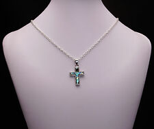 Abalone Pearl Cross Pendant Necklace