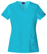 Scrubs Dickies Xtreme Stretch V- Neck Top 82851 Icy Turquoise WE SHIP FREE