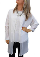 Ladies UK Plus Size 22-32 Ivory Blouse Tunic Cover-up Kimono Top