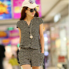 Fashion Summer Women Casual Short Sleeve Jumpsuits Rompers Striped Dot