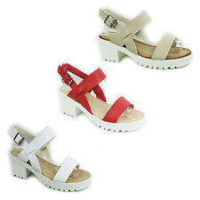 WOMENS LADIES CHUNKY SOLE CLEATED PLATFORM BLOCK HEEL SANDALS SHOES SIZE 3-8