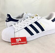 NEW adidas Originals SUPERSTAR Foundation Shoes White Navy Blue BY3712 a1