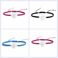 STR Silver Cubic Zirconia CZ Cross Faith Hand Braided Adjustable Cord Bracelet