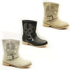 WOMENS LADIES COWBOY STYLE FLAT LOW HEEL STUDDED ANKLE BOOTS SHOES SIZE 3-8