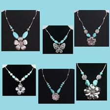Tibetan Silver Tone and Turquoise Bead Flower Butterfly Pendant Tube Necklace