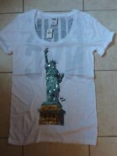 "VICTORIAS SECRET PINK SEQUIN BLING""NYC""STATUE OF LIBERTY PATRIOTIC CUFFED TE NWT"