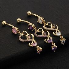 Hot Belly Button Ring For Women Gold Body Piercing Heart Dangle Navel Jewelry