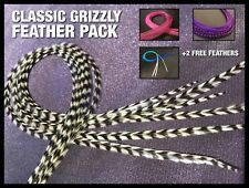 Real Feather Hair Extensions XL Grizzly Naturals Feathers Long Tools Bead Kit