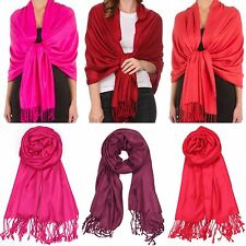 Burgundy Red Wine Pashmina Scarf Shawl Evening Wedding Events Fuchsia Party Wrap