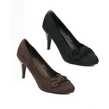 NEW WOMENS LADIES SMART MID HIGH STILETTO HEEL KNOT BOW COURT SHOES SIZE 3-8