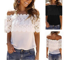 New Women Lace Flower Plus Size Off Shoulder T-shirt Chiffon Tops Blouse Clothes