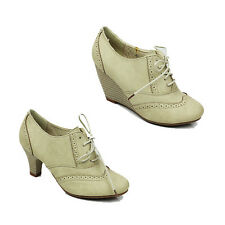 WOMENS OFFICE WORK MID HIGH CUBAN WEDGE HEEL LACE UP BROGUES SHOES SIZE 3-8