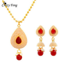 Women Crystal Pearl Wedding Jewelry Sets Fashion Pendant Necklace Earring Sets