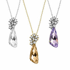 Gold or Silver Tone Comet Necklace With Vibrant Swarovski Stone and Crystals