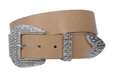 Western Rhinestone Buckle Plain Leather Belt 2