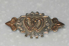 VICTORIAN 1891 STERLING SILVER & GOLD HEART LOVE SWEETHEART BROOCH PIN ANTIQUE
