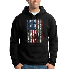 Patriotic Distressed American Flag USA United States Hooded Sweatshirt Hoodie